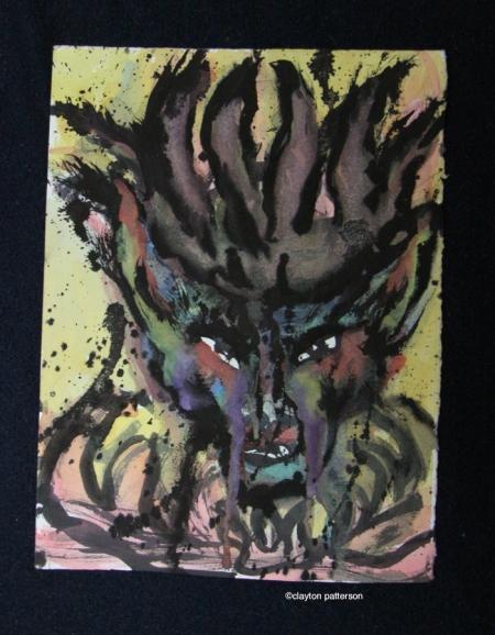 devil head watercolor