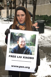 FREE Liu Xiaobo PEN demonstration NYC 42 St. Library